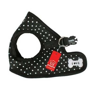 Dog Puppy Harness Soft Vest- Puppia - Dotty - Black - Choose Size