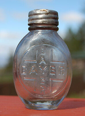Tiny oval BAYER ASPIRIN bottle true ANTIQUE w/ BAYER in cross HEROIN connection