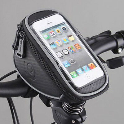 Cellphone Cycling Bike Bicycle Pannier Front Frame Handlebar Black Bag Pouch