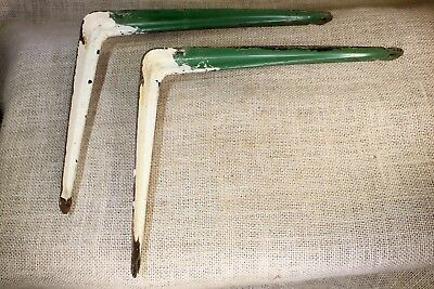 "2 Shelf Brackets 8"" X 10"" rustic supports white green paint old vintage steel"