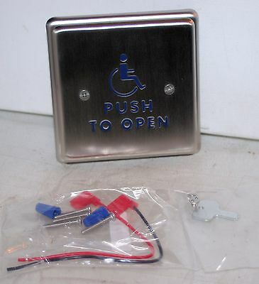 """4.75""""  Blue Handicap Stainless Push Plate Switch  BEA 10PBS451"""