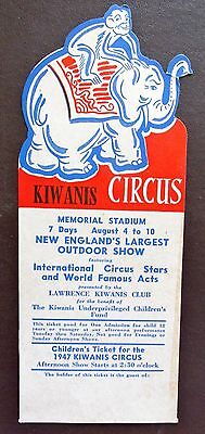 Vintage 1947 KIWANIS CIRCUS TICKET MEMORIAL STADIUM NEW ENGLAND Elephant Monkey