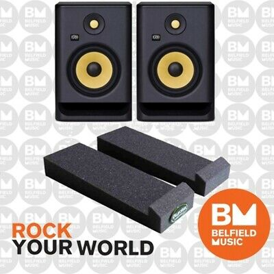 2 x KRK Rokit 4 G3 PACK w/ Auralex MoPad Studio Monitor Powered Speaker - BNIB