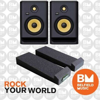 2 x KRK Rokit 6 G3 PACK w/ Auralex MoPad Studio Monitor Powered Speaker - BNIB