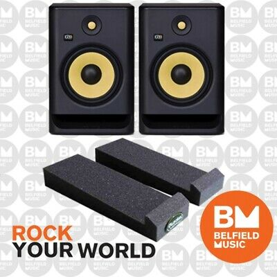 2 x KRK Rokit 8 G3 PACK w Auralex MoPad Studio Monitor Powered Speaker BNIB