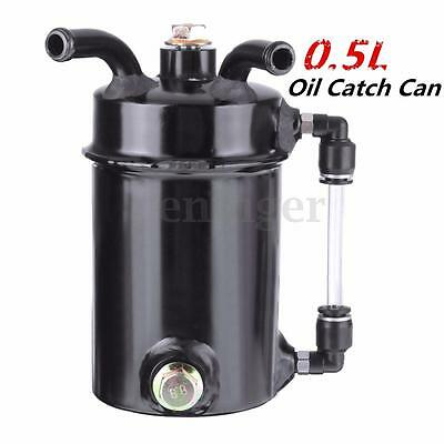 500ml Modified Engine Oil Catch Tank Breather Reservoir Can Aluminum Alloy Black