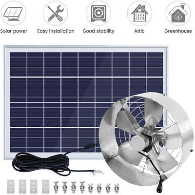 "25W PV Power Solar Panel with 3000 CFM 14"" 65W Vent Exhaust Fan Cooling"