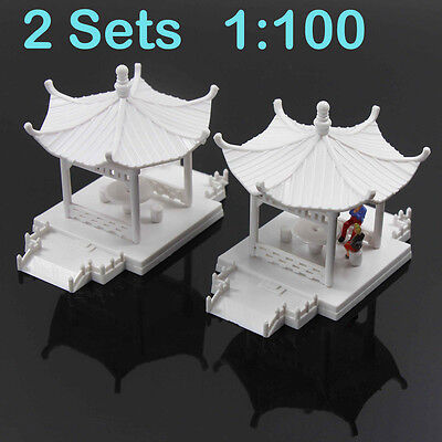 GY01100 2 sets Pavilion Model Gloriette Chinese Construction Educational 1:100
