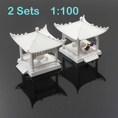 GY02100 2 sets Pavilion Model Gloriette Chinese Construction Educational 1:100