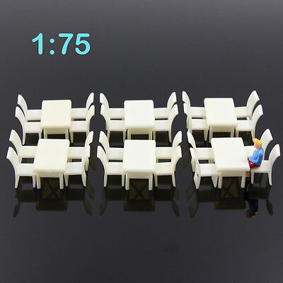 ZY02075 6sets White Square Dining Table Chair Settee Railway Model 1:75 OO Scale