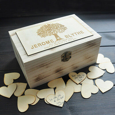 Personalized Wedding Guest Book Rustic Custom Wooden Rectangle Keepsake Box
