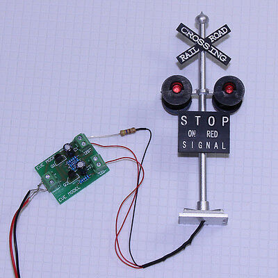 6PCS HO Scale Railroad Crossing Signals 4 heads LED made + Circuit board flasher