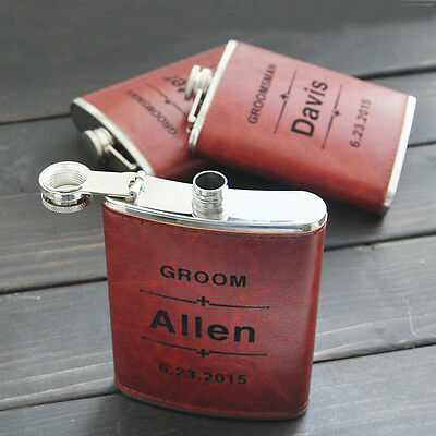 Personalized Engraved Flask Leather hip flask Personalized flask Groomsman gift