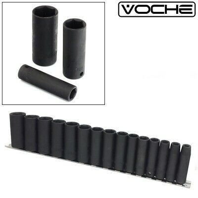 "VOCHE® 15PC DEEP IMPACT SOCKET SET 3/8"" CHROME VANADIUM STEEL CRV SOCKETS 8-22mm"