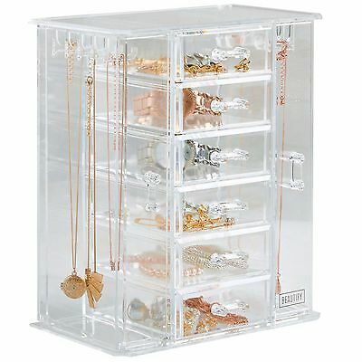 Beautify Clear Jewellery Organiser Makeup Cosmetic Organiser Storage Box Stand