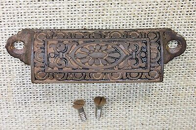 "old Bin Drawer Pull cup handle egg & dart daisy 3 3/4"" cast iron vintage screws"