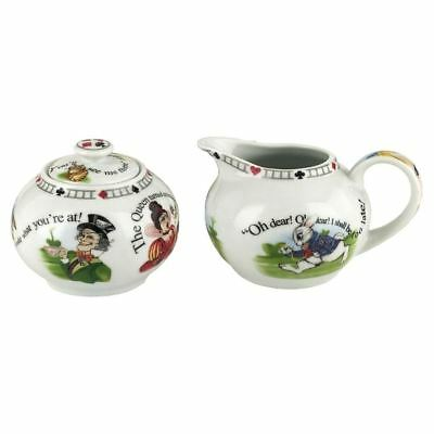 Official Cardew Alice in Wonderland 7.25 oz Sugar Bowl and Creamer Set - Boxed