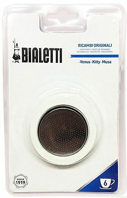 Bialetti Gasket and Filter Set for Stainless Steel Espresso Makers - 6 Cup