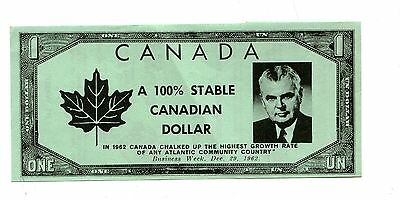 Vintage CANADA ELECTION FLYER Progressive Conservative Party 1962 stable dollar