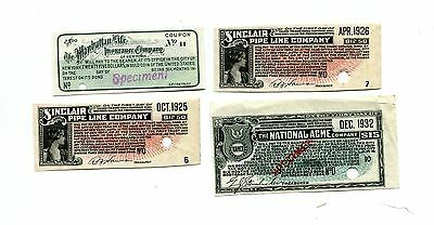 Vintage Bond Coupons 4 different 2 SPECIMENS 1920s-30s