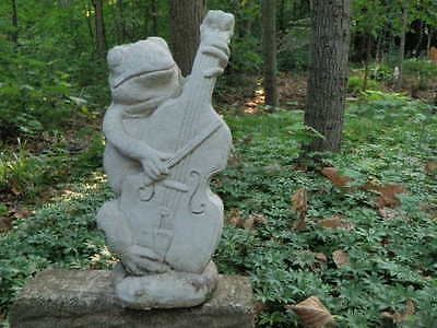 "Vintage Cement 14"" Tall Frog Playing Cello Garden Art Statue Weathered Concrete"