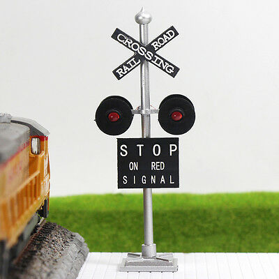 JTD436R 4 pcs O Scale  Railroad Crossing Signals 4 heads LEDs made Long Life 12v