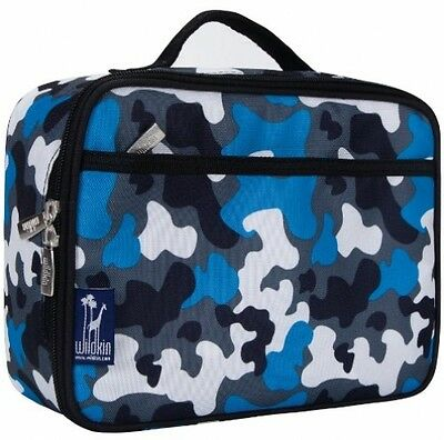 Boy's Kid's Girl's Blue Camo Lunch Box Insulated Durable Front Pocket Mesh Pouch