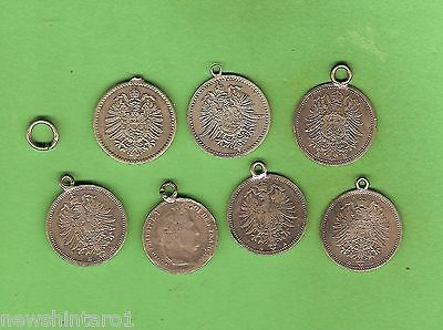 #d271.  Seven German  Empire Silver Coins  Made Into  Bracelet Charms