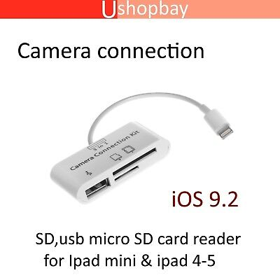 Camera Connection Kit 3 in 1 USB U-disk/SD/TF Card Reader iPad 4 Mini iPhone iOS