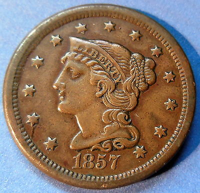 1857 Braided Hair Large Cent About Uncirculated to MS Small Date US Coin #5396
