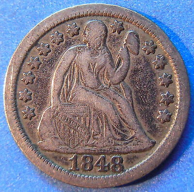 1848 Seated Liberty Dime Extra Fine XF Toned Better Date US 10c Coin #4734