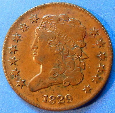 1829 Classic Head Half Cent About Uncirculated to MS Original 1/2 Cent #4527