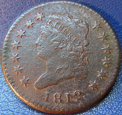 1812 Classic Head Large Cent Very Fine VF US Coin Corroded #10522