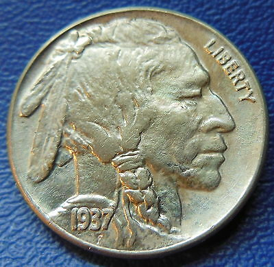1937 Buffalo Head Nickel Uncirculated High End Mint State US Coin Toned #7495