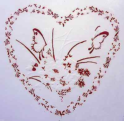 "4 Heart Butterfly Gold White 2"" Waterslide Ceramic Decals Xx"