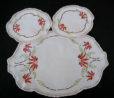 Vintage 3 Piece Hand Embroidered Doily Set - Poinsettia Flowers