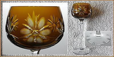 MUSTARD AMBER Wine Goblet Hock Glass CUT TO CLEAR CRYSTAL Lausitzer Glas Germany