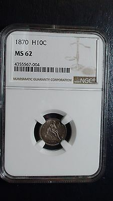 1870 P Liberty Seated Half Dime NGC MS-62 Silver Coin H10C