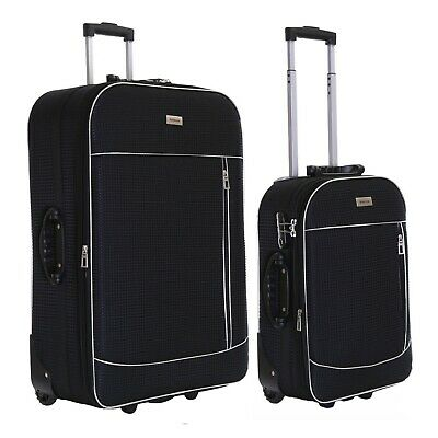 Set of 2 Lightweight Expandable Luggage Trolleys Suitcases Cases Bags Set