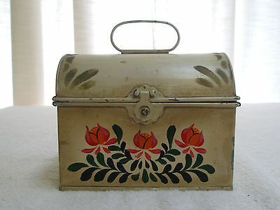 Vintage Napcoware Tin Recipe Box Chest with Handle Handpainted Flowers