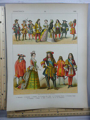 Rare Antique Original VTG French Louis XIV Fashion 1600 Costumes Litho Art Print