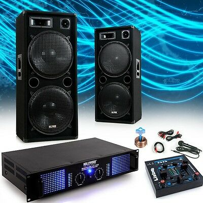 2400W PA Professional Set Industrial plant Complete system Speakers Amplifier