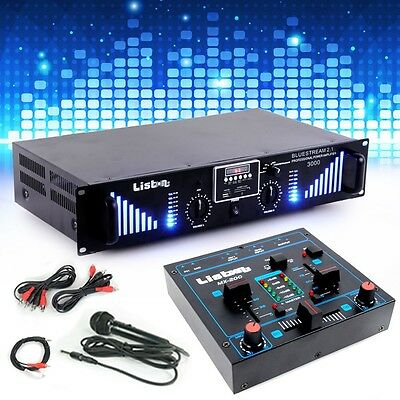 PA Extensions Installation 3000W USB SD MP3 Bluetooth Amplificateur Mixer