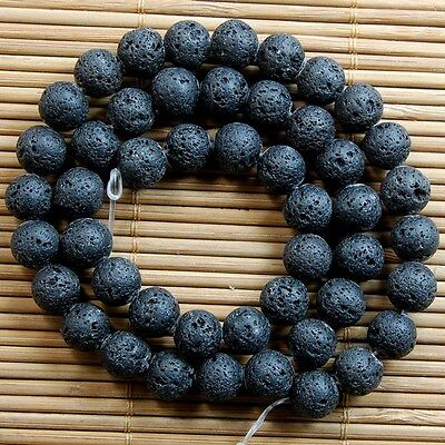 Natural Nature Black Volcanic Lava Gemstone Round Beads TY