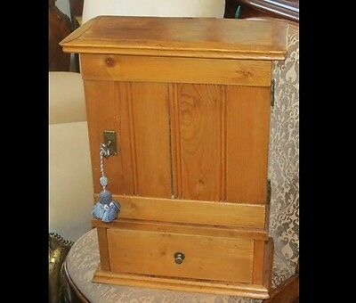Unusual Antique Small Pine Cabinet w Lock & Key