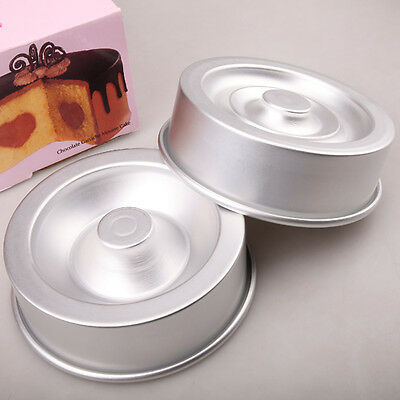 1 Set 8 Inch Baking Tool Heart Tasty Fill Round Cake Baking Pan Tin Fondant Tool