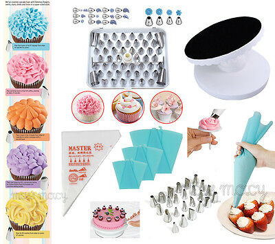 Cake Decorating Icing Piping Bags Nozzles Smoother Scraper Pastry Mould Tools DL