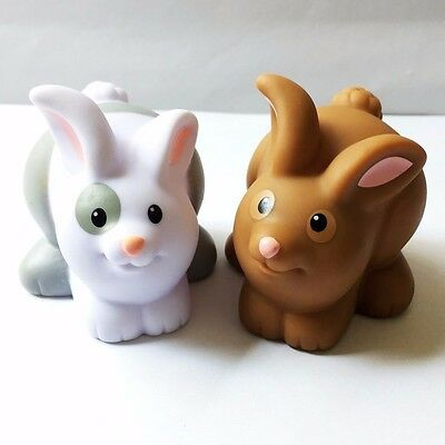 2x Fisher-Price Little People Farm Animal Friends Bunny Rabbit Figure Baby Doll