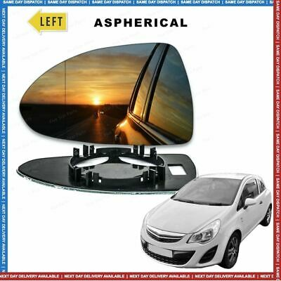 Left side Wide Angle wing door mirror glass for Vauxhall Corsa D 2006-2014