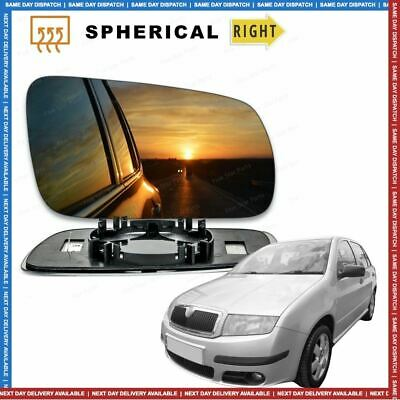 Right Driver side wing mirror glass for Skoda Fabia (6Y2) 1999-2007 Heated